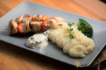 Chicken Skewers with Celery Puree and Tzatziki