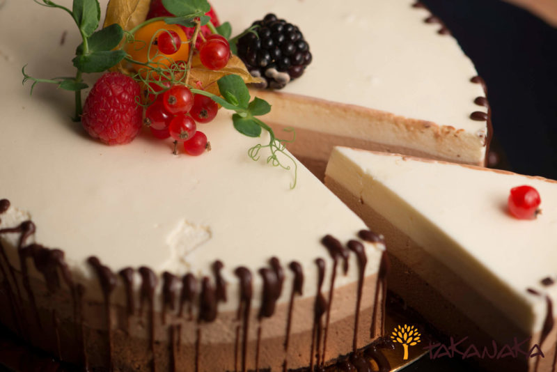 Slice of Trio Chocolate Mousse Cake